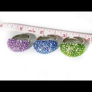 3 adjustable crystal rings
